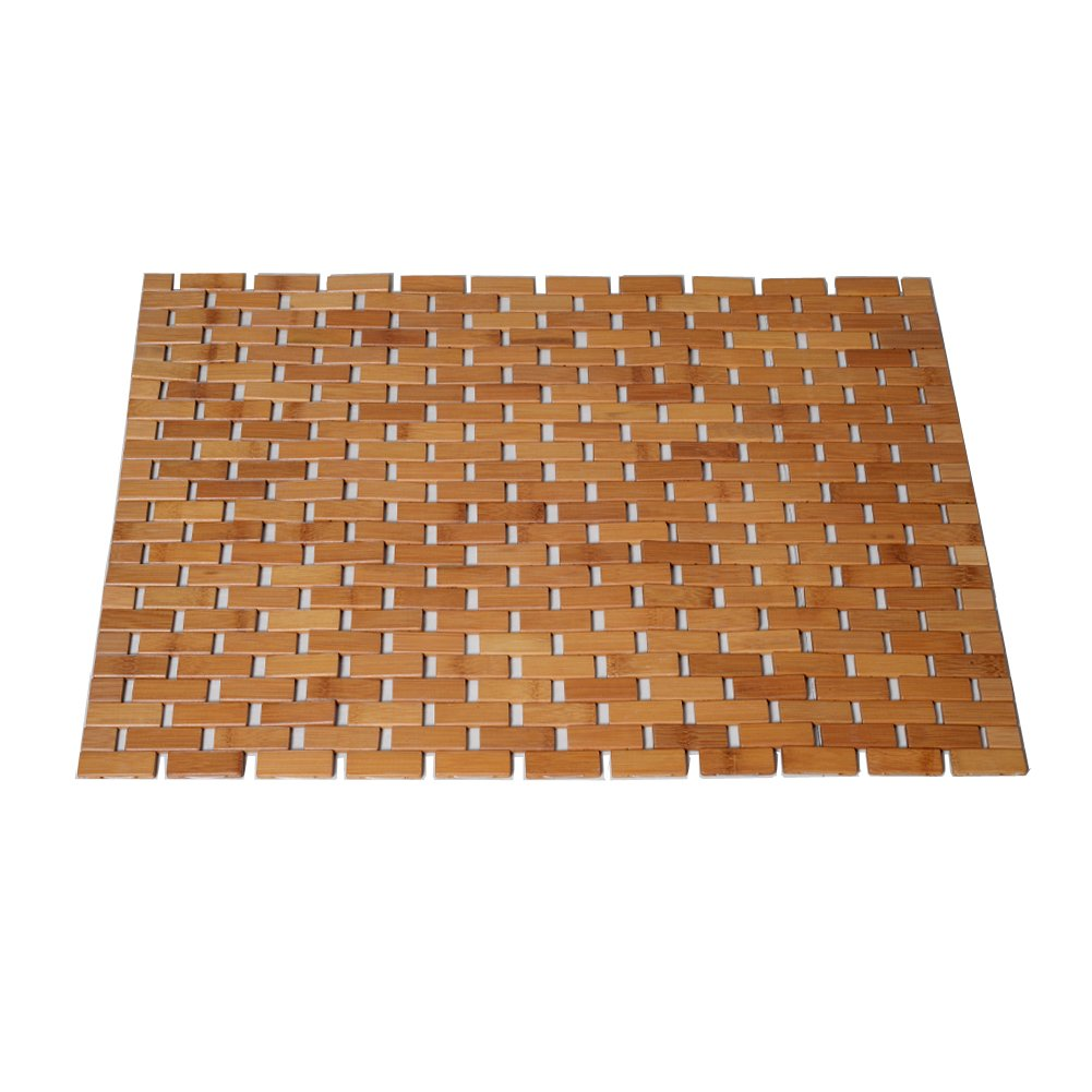 GLS Foldable Bamboo Shower Bath Mat(26.8 x 19.7 x 0.23 Inches) with Non-Skid Backing and Oiled Finish