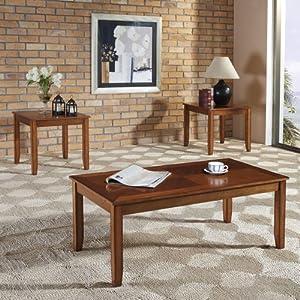 Amazon Com 3 Piece Coffee Table Set Finish Tawny Golden