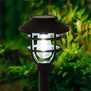 Solar Pathway Lights Outdoor Waterproof - 6pack Pearlstar Solar Powered Garden Path Lights with Bright Cool White Edison Light Bulb for Yard Patio Lawn Driveway Landscape Lighting, Auto On/OFF (Black)