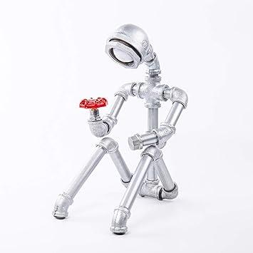 LCTCTD nostálgico Robot Industrial USB Lámpara de Mesa-LED-Escritorio-Lectura-Iluminación Hogar Creativo Estilo Vintage Dormitorio de Lectura Lámpara de ...