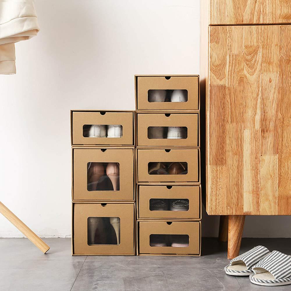 Pack de 10 Cajas de Zapatos Transparente Apilable para Hombre y Mujer,35 x 23.5 x 13.5 cm fuluomei FLM Cajas de Almacenaje Plegable