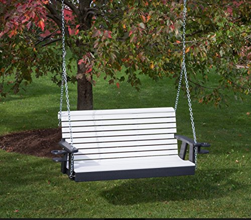 5FT-BRIGHT WHITE-POLY LUMBER ROLL BACK Porch Swing with Cupholder arms Heavy Duty EVERLASTING PolyTuf HDPE – MADE IN USA – AMISH CRAFTED For Sale