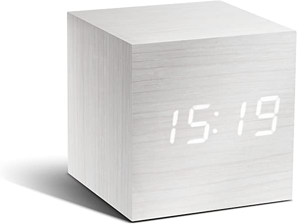 Gingko GK08W13 Click Clock Réveil Cube LED Blanc