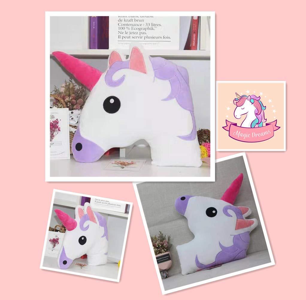 Unicorn Coj/ín de peluche con dise/ño de emoji cabeza de unicornio suave y acolchado