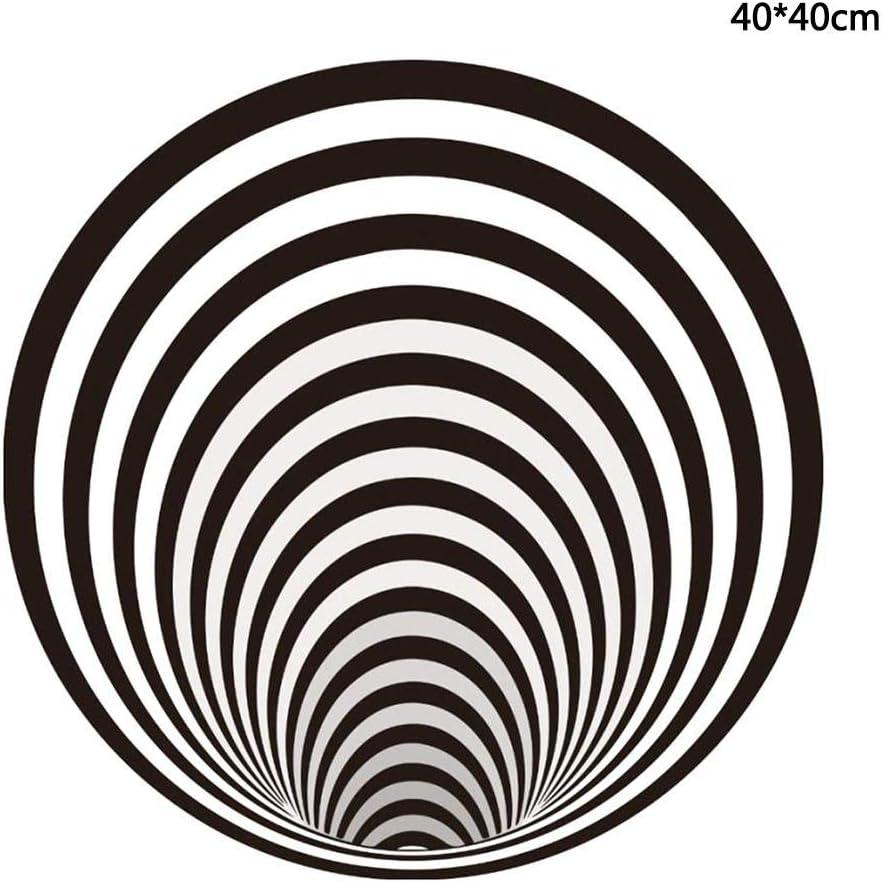 Runder Polyester Schwarz Wei/ß Vortex Teppich F/ür Wohnzimmer Schlafzimmer K/üche osmanthus 3D Swirl Print Optische T/äuschung Teppich Esszimmer