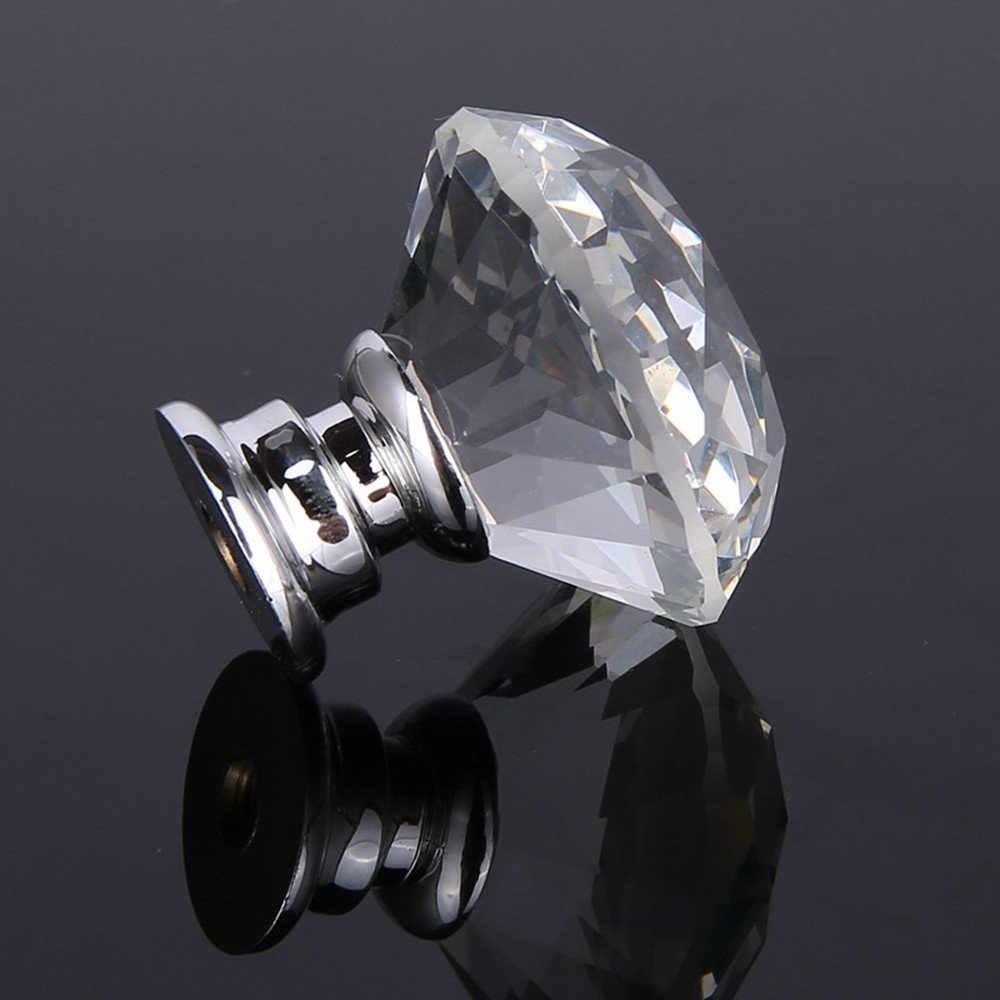 8 pomos de cristal para caj/ón con tiradores de armario 40 mm.