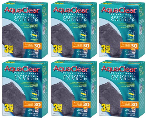 Aquaclear Activated Carbon Insert, 30-Gallon Aquariums, 3-Pack (6-Pack)