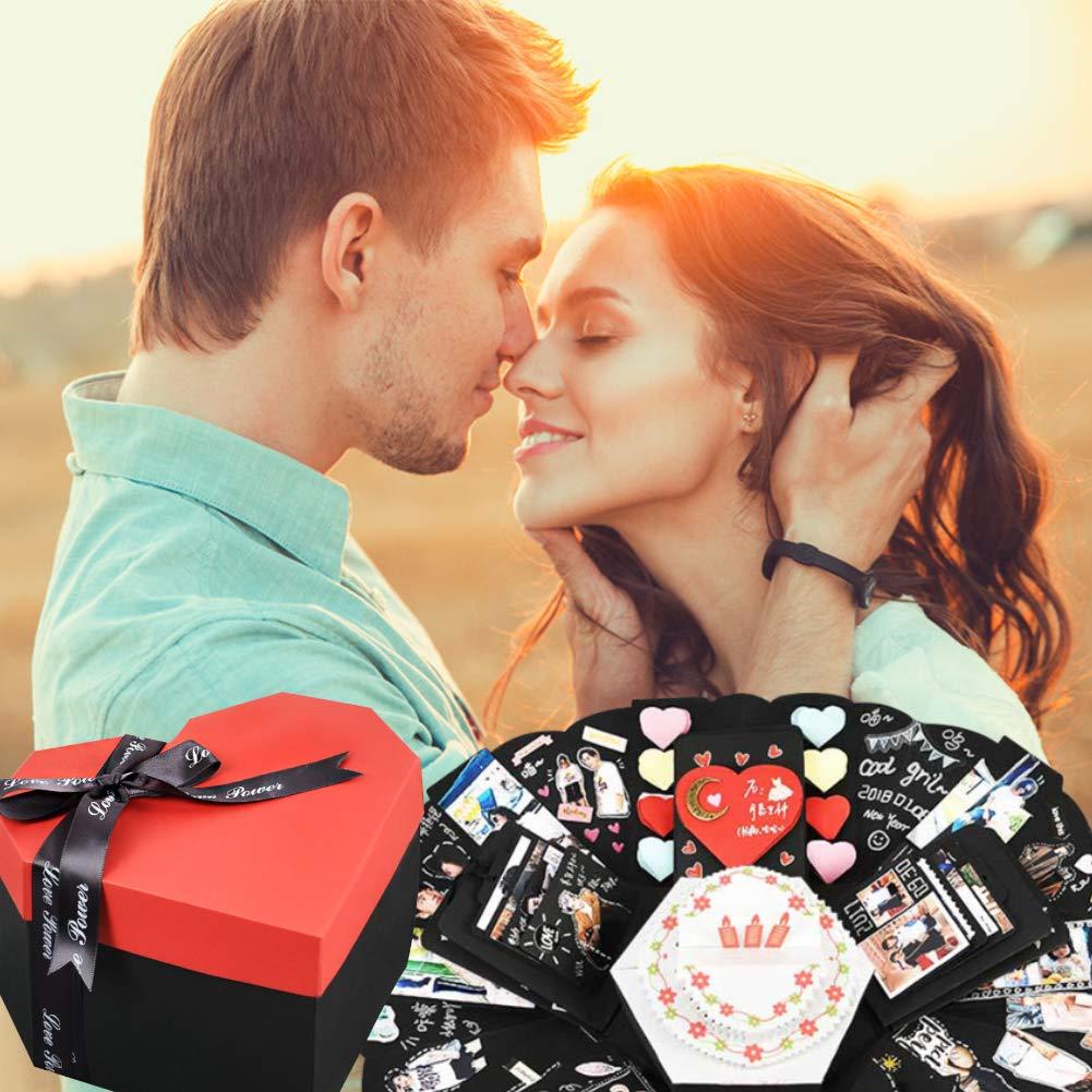 Koogel Explosion Box Set, Heart-Shaped Explosion Gift Box DIY Handmade Photo Album Scrapbooking for Marriage Proposals Making Surprises Birthday
