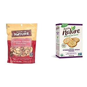 Back to Nature Trail Mix, Non-GMO Cashew Almond Pistachio Blend, 9 Ounce & Crackers, Organic Stoneground Wheat, 6 Ounce (Packaging May Vary)