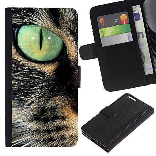 LASTONE PHONE CASE / Luxe Cuir Portefeuille Housse Fente pour Carte Coque Flip Étui de Protection pour Apple Iphone 6 PLUS 5.5 / Savannah Serengeti Somali Cat Eye Teal