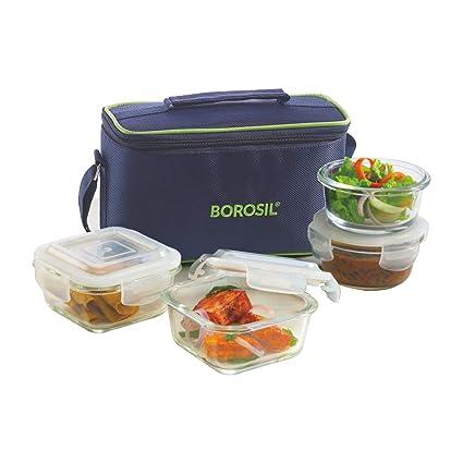 2f297f9aafd3 Borosil Glass Universal Lunch Box Set of 4, (2pcs 320 ml sqr + 2pcs 240 ml  Rnd) Microwave Safe Office Tiffin