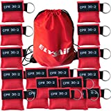 100Pcs/Pack Cpr Mask With Key Ring Cpr Face Shield For AED Training Mouth to Mouth First Aid Red Pouch Logo CPR 30:2