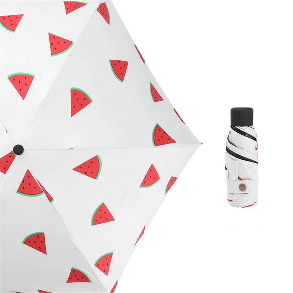 Guoke The Weather Was Fine Rain Umbrellas Use A Sunscreen Ultra Small Ultra Light Mini Light Folding Portable, Watermelon - White