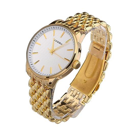 Sinobi elegante impermeable mujeres relojes, oro tono lujo sencillo reloj de acero reloj mujer reloj Muje: Amazon.es: Relojes