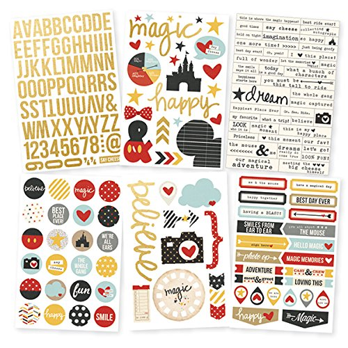 Simple Stories Say Cheese II Foil Stickers Sheets (6 Pack), - Disney Scrapbook Supplies