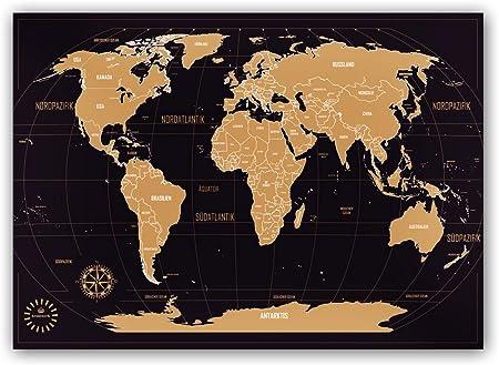 Mapa del mundo para rascar – Kronewerk – Inglés – Regalo creativo para viajeros – Incluye una elegante caja cilíndrica – póster XXL – mapa para rascar al aire libre: Amazon.es: Hogar