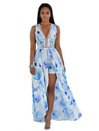 Sophia17 Women Sleeveless Open Back Floral Print Front Split Shorts  Jumpsuit Maxi Dress S