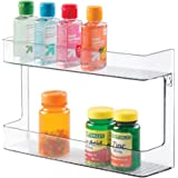 mDesign Wall Mount Shampoo Soap Lotion Beauty Products Storage Holder - 2 Shelves Clear
