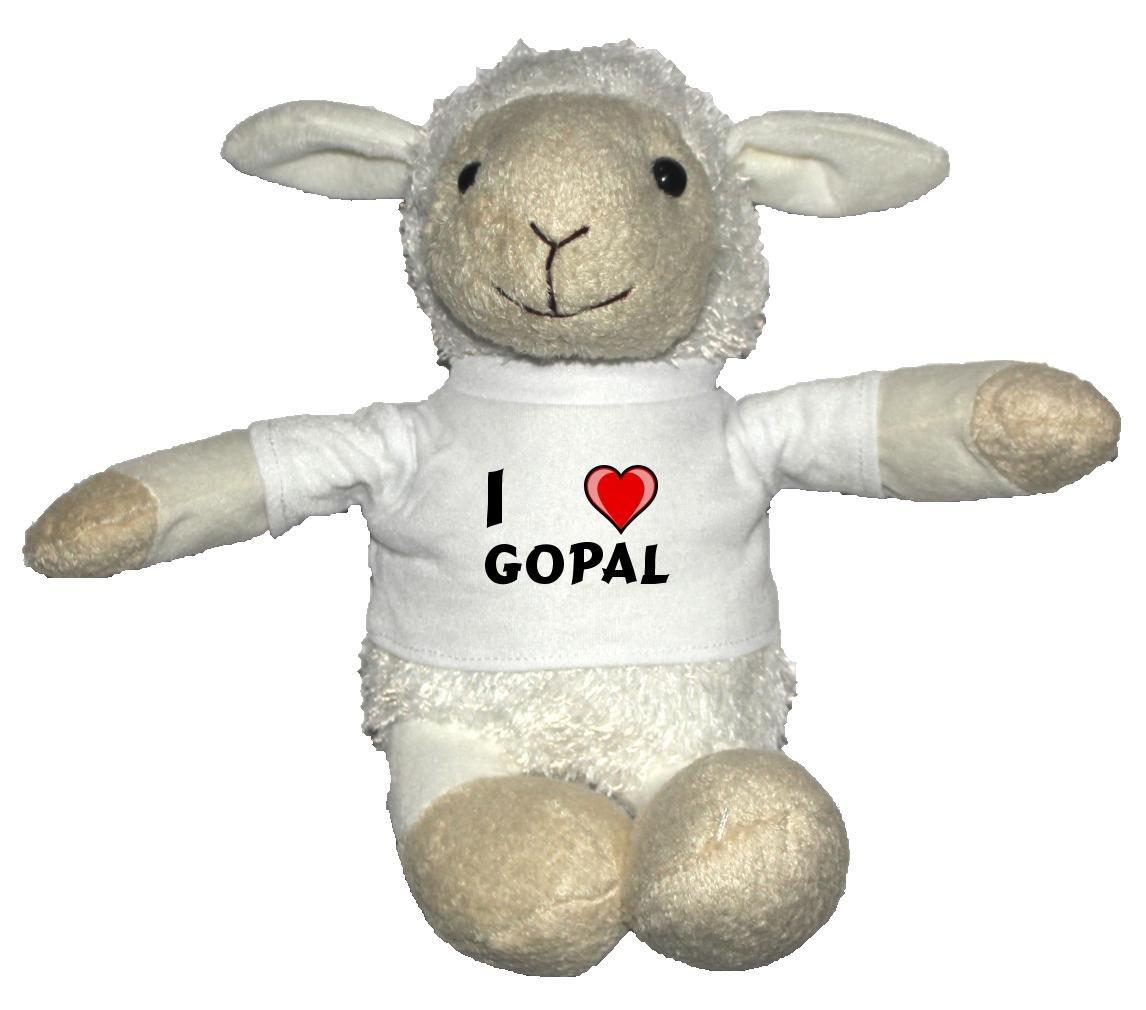Oveja blanco de peluche con Amo Gopal Gopal Gopal en la camiseta (nombre de pila/apellido/apodo) 363b86