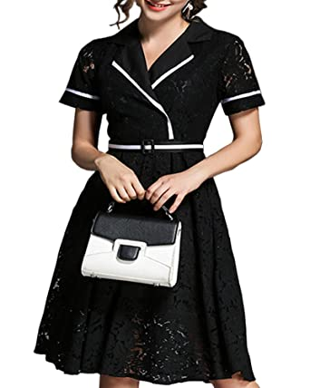 Aox Womens Vintage Floral Lace Crochat Short Sleeve A Line Swing Dress Skater Casual Summer Beach