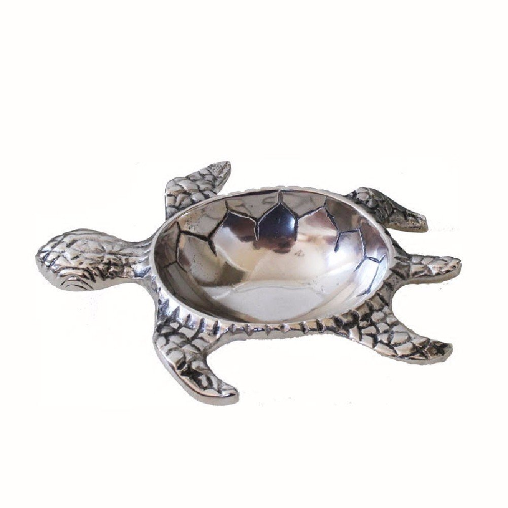 WAWZJ Ashtray Soft Decoration Accessories Home Furnishing Old Tortoise Disc Containing Aluminum Key Disk Compote Ashtray Ornaments