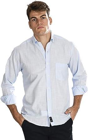 Camisa Manga Larga con Tejido Tipo Lino Celeste y Cuello Sport para Hombre - 6_2XL, Azul Claro: Amazon.es: Ropa y accesorios