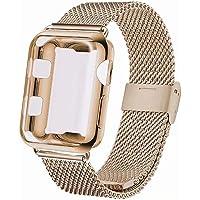 INZAKI Kompatibel für Apple Watch Armband mit Hülle 38mm 40mm 42mm 44mm,Edelstahl Netz Schlaufen Armband mit Displayschutz Schlankes case für iWatch Series 4/3 / 2/1, Sport, Edition
