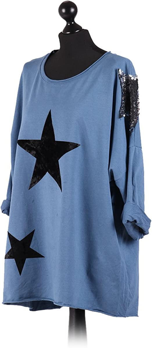 Ladies Italian Velvet Star Lagenlook Top Sequin Star Tunic Top Plus Sizes Denim
