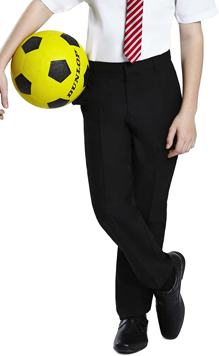 Integriti Schoolwear Boys Pull Up School Trousers Flat Front Easy Dressing Elasticated Pull On Black Grey Navy Age 1 2 3 4 5 6 7 8 9 10 11 12 13 Teflon