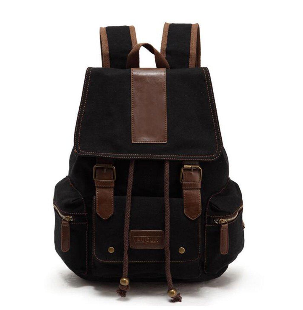 rventricファッションキャンバスバックパックレトロカジュアルニュートラル(2色)/キャンプ/アウトドア ブラック 852-402  ブラック B07CWJHSY9
