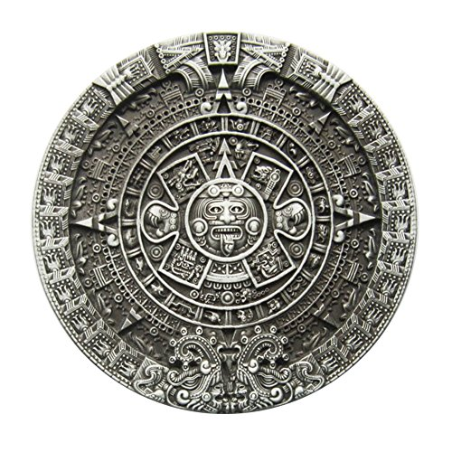New Classic Round Vintage Aztec Calendar Belt Buckle also Stock in US ()