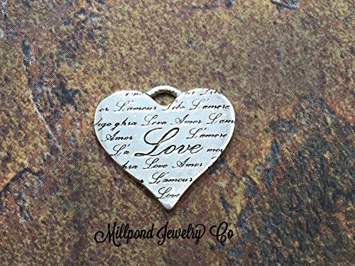 Heart Charm, Love Heart Charm, Embossed Love Heart Charm, Sterling Silver Charm, PS0212
