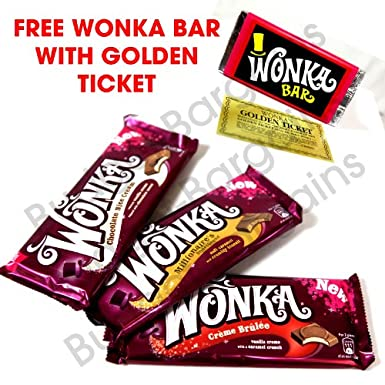 Wonka Bars Large Chocolate Nice Cream Millionaires Shortbread Crème Brûlée 100g Bar Free Novelty Wonka Bar With Golden Ticket