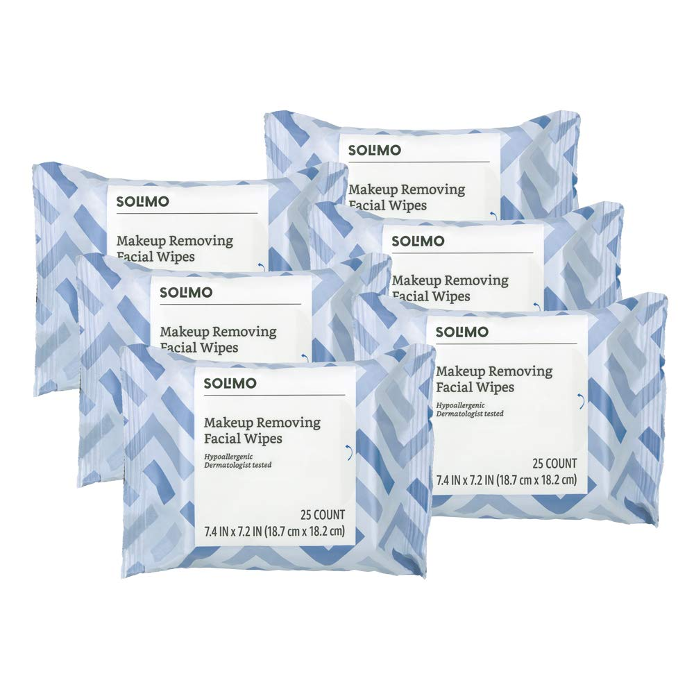 Amazon Brand - Solimo Makeup Removing Facial Wipes, Dermatologist Tested, Hypoallergenic, 25 Count (Pack of 6)