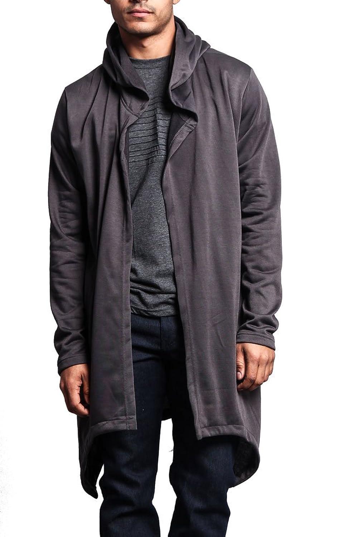 Amazon.com: Men's Black Long Hooded Cardigan Large Cape Cloak Coat ...
