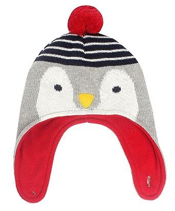 Happy Cherry - Bonnet Chaud à Pompons Coton Doux Maille Côtelée Motifs  Fantaisie Pingouin, Chapeau ed190f20160