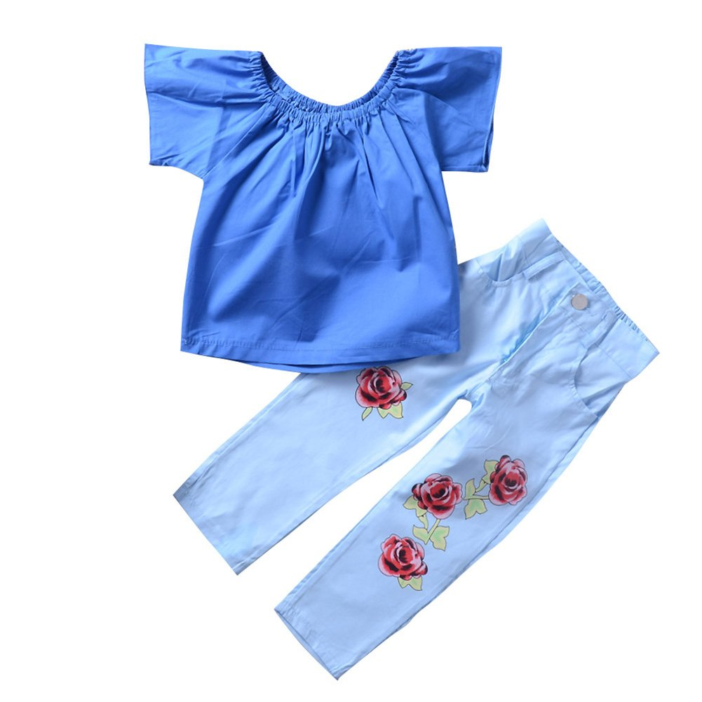 Chinatera Little Girls Summer Clothes Two-Pieces Off Shoulder Tops + Denim Pants for Toddler Girl with Roses Embroidery (3T/4T)