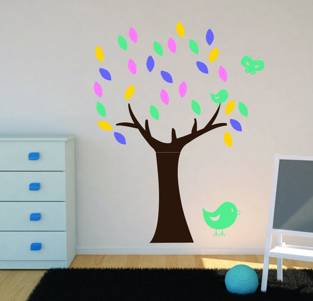 Birds Stickers for Nursery or Girls Room Vinyl Colors Butterfly Wall Decor Plus More WDPM3702 Tree Wall Decals with Leaves