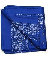 Paisley One Dozen Cowboy Bandanas (Royal Blue, 22 X 22 in)
