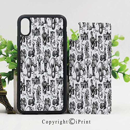 iPhone X Case,Circus Quote and Themed Continous Pattern with Magician Baloons Artwork iPhone X Shockproof Protective Case TPU Bumper Compatible Apple iPhone X 5.8