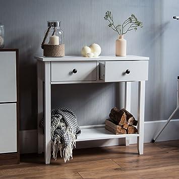 Home Windsor 2 Drawer Console Table Shelf, White Wooden Hallway Living Room  Bedroom Dressing Dresser