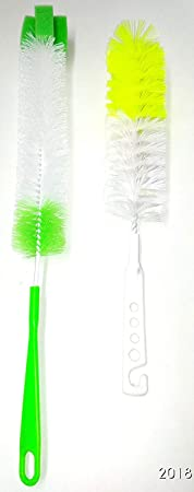 Truvic Long with Small Bottle Cleaning Brush for Clean All Sizes of Bottle Brush (Color May Vary)