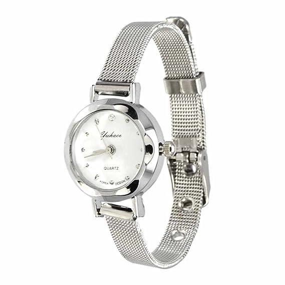 Reloj de pulsera Joya reloj forma dial rotonda Blanco Hebilla Cuarzo analógico Mujer Plata Taz: Amazon.es: Relojes