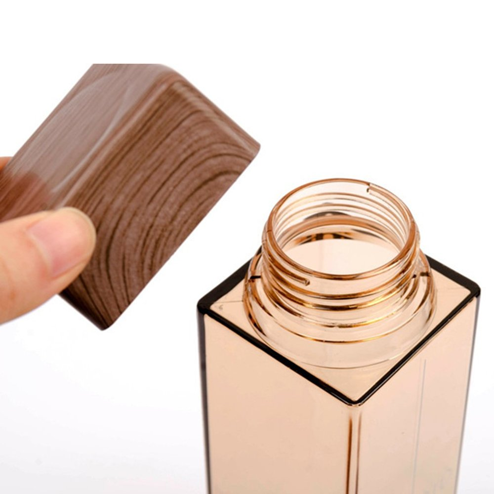 Jia Jia Trade Square Water Bottle With Wood Grain Lid 15oz Durable Plastic by Jia Jia Trade (Image #6)