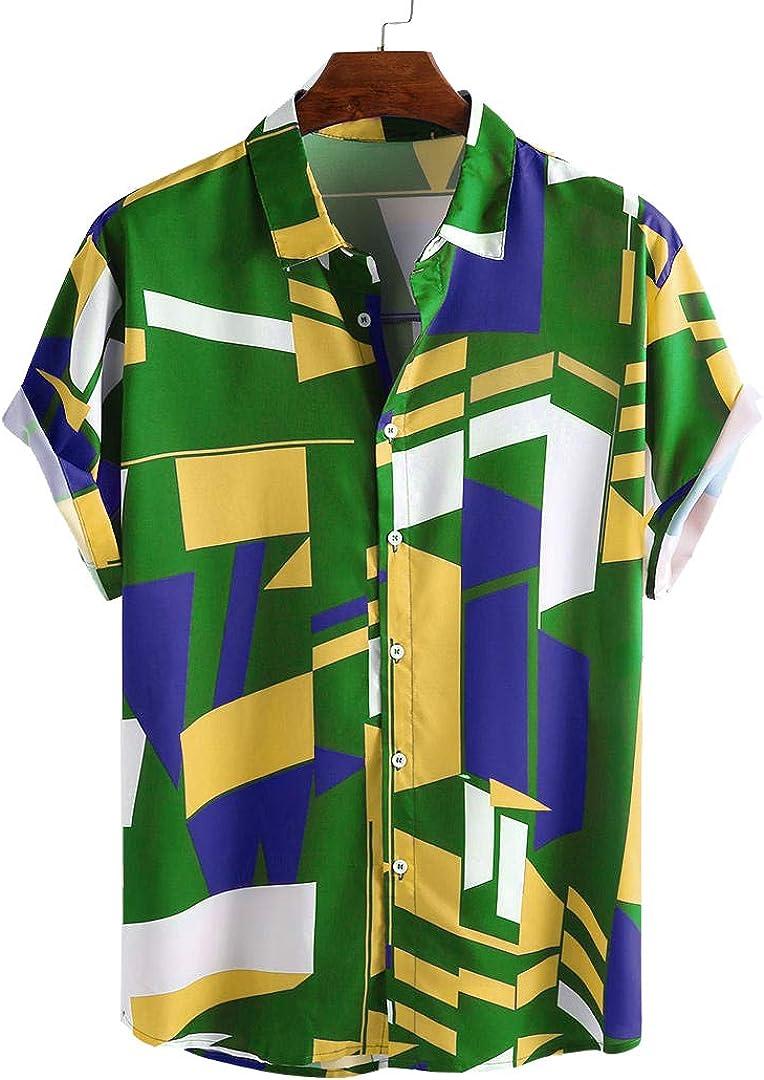 Yualice Hawaiian Casual Shirt Short Sleeve Button Down Shirts for Men Ethnic Printed Pattern Summer Loose fit Beach Shirt