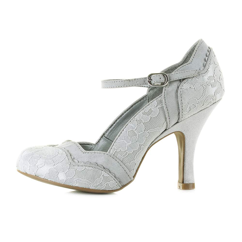 91863eb18f0 Ruby Shoo Women s Silver Lace Imogen Mary Jane Pumps UK 6 EU 39   Amazon.co.uk  Shoes   Bags