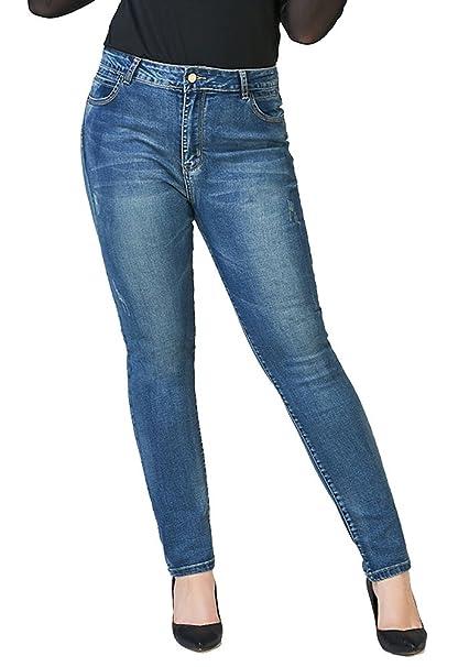 Amazon.com: allonly Mujer Azul Oscuro Moda Skinny Fit ...