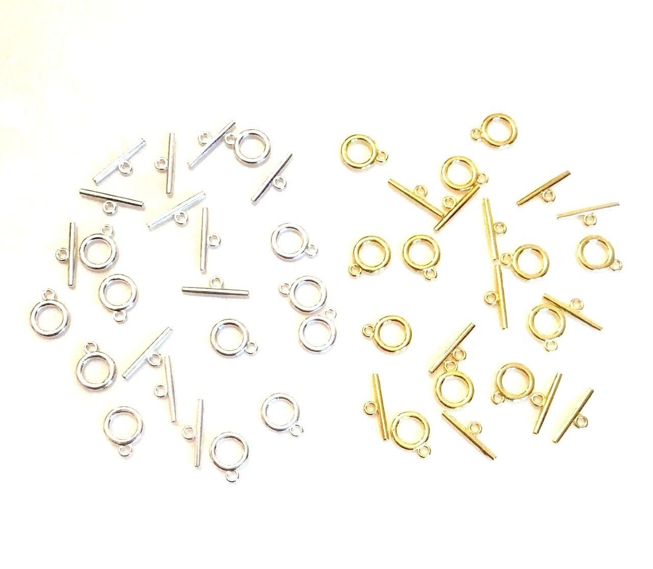 Angel Malone ® 24 (12 x SILVER & 12 GOLD) Plain Polished Silver Quality Round Toggle Clasps. GR8 for Leather & Kumihimo Projects...! Jewellery Making Findings