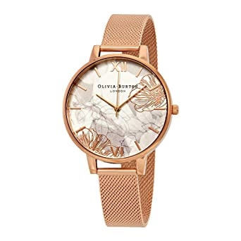 69a83fb71389 Olivia Burton Abstract Florals Rose Gold Mesh Watch - ROSEGOLD   Amazon.co.uk  Watches