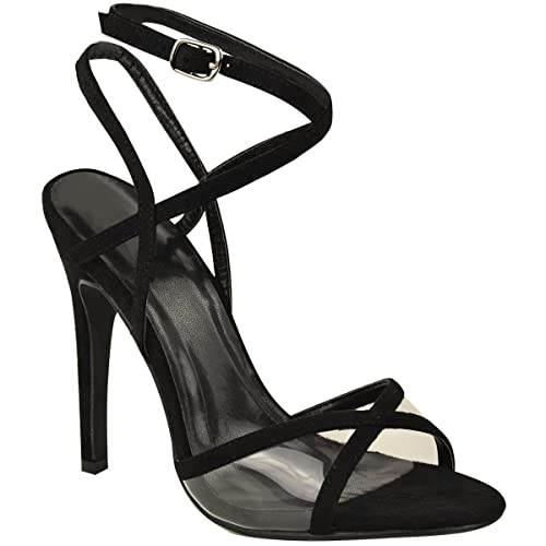 7b9b83afb48 Fashion Thirsty Womens Barely There High Heels Ankle Strappy Perspex Party  Sandals Size 7